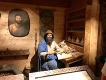 Noah by a desk on the Ark in the Ark Encounter Theme Park