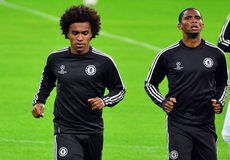 Willian and Samuel Eto'o during UEFA Champions League official training Royalty Free Stock Photo
