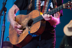 Willie Nelson. LINCOLN, CA – June 17: Willie Nelson plays his guitar, Trigger at Thunder Valley Casino Resort in in Lincoln, California on June 17, 2015 Royalty Free Stock Image