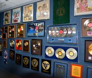 Willie Nelson museum display. Display of country artist Willie Nelson's gold and platinum records at the Willie Nelson and Friends Museum and General Store royalty free stock photography