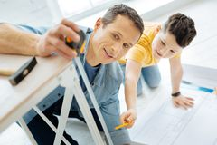 Charming boy helping his father measure table leg. Willing to help. Pleasant pre-teen boy helping his father to measure the table leg by checking the tape Royalty Free Stock Photos