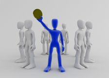 Willing to Invest. A blue 3d figure in a circle of white figures, holding up a coin stock illustration