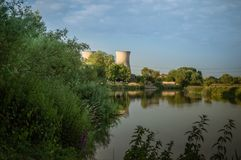 Willington power station cooling towers from the bank of the River Trent. stock photography