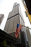 Willis Tower. Formerly Sears Tower, with American flag Royalty Free Stock Photography
