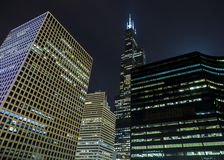 Willis tower loop chicago. The willis tower, formerly sears tower, at night royalty free stock images