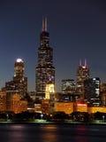 Willis Tower at Night. Willis Tower Chicago from Lake Michigan at night stock photos
