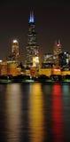 Willis Tower at Night. Willis Tower Chicago from Lake Michigan at night stock photo