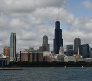 Willis Tower. This is a Summer picture of the iconic Willis Tower dominating the skyline of Chicago as scene from across Lake Michigan located in Chicago stock photography