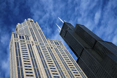 Willis Tower and Three Eleven South Wacer Stock Photos
