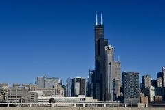 Willis Tower. This is a Winter picture of the iconic Willis Tower from the Roosevelt Road overpass located in the West Loop neighborhood of Chicago, Illinois Stock Image