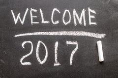 Willkommen 2017 auf dem Kreidebrett Stockfotografie