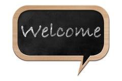 Willkommen auf einer Spracheblase geformten Tafel Stockbilder