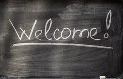 Willkommen auf Tafel und Kreiden Stockbild