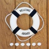 Willkommen an Bord Stockbild
