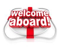 Willkommen an Bord des Wort-Schwimmweste-Grußes Stockfotos