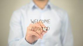 Willkommen an Bord, Mann-Schreiben auf transparentem Schirm Stockfoto