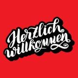 Willkommen de Herzlich Accueil Festival traditionnel de civière d'Oktoberfest d'Allemand illustration tirée par la main o de lett Photos stock