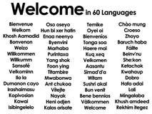 Willkommen in den Lots von 60 verschiedenen Sprachen Lizenzfreie Stockbilder
