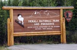 Willkommen Denali zum Nationalpark stockbild
