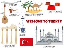 Willkommen in die Türkei Symbole von der Türkei Set Ikonen Vektor Vektor Abbildung