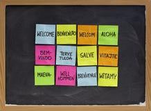 Willkommen in Dutzend von Sprachen lizenzfreies stockbild