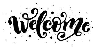 willkommen Handbeschriftungswort Handgeschriebenes modernes Bürstentypographiezeichen Rebecca 6 Auch im corel abgehobenen Betrag lizenzfreie abbildung