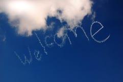 Willkommen kennzeichnen Sie innen den Himmel Stockfotos