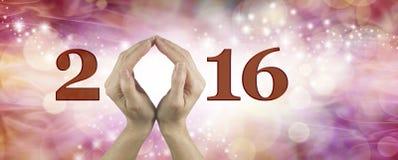 Willkommen 2016 mit beiden Händen Lizenzfreies Stockbild