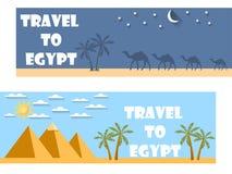 Willkommen nach Ägypten Flache Reisefahne tourismus Lizenzfreie Stockbilder