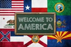 Willkommen nach Amerika Stockbild