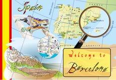 Willkommen nach Barcelona Anziehungskräfte auf Karte Stockfotos