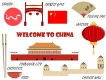 Willkommen nach China Symbole von China Set Ikonen Vektor Stock Abbildung