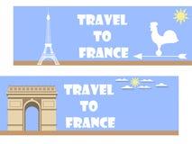 Willkommen nach Frankreich Fahne in einer flachen Art tourismus Lizenzfreie Abbildung