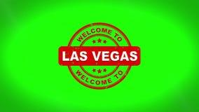 Willkommen nach LAS VEGAS unterzeichnete das Stempeln Text-der hölzernen Stempel-Animation lizenzfreie abbildung