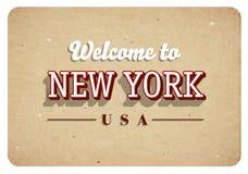 Willkommen nach New York - Weinlesegrußkarte stock abbildung