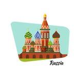 Willkommen nach Russland Die Kathedrale St.-Basilikums auf rotem Quadrat - vector flache Illustration auf Lager Plan des Plans Lizenzfreies Stockfoto