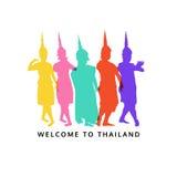 Willkommen nach Thailand, thailändischer Tänzer, Vektorillustration Lizenzfreie Stockfotos