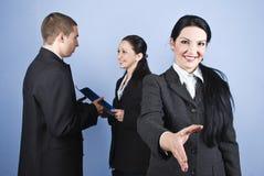 Willkommen oder angeschlossen Geschäft Stockfoto