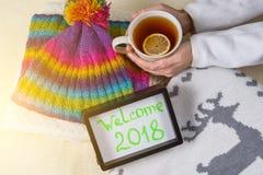 Willkommen 2018, Text im Rahmen Winterkleidungshintergrund und Schale heißer Tee mit Zitrone Lizenzfreie Stockbilder