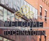 Willkommen zu Chinatown unterzeichnen herein Manhattan stockbilder