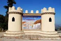 Willkommen zu Comares-Zeichen Stockbild