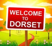 Willkommen zu Dorset stellt Vereinigtes Königreich und Großbritannien dar Stockfoto