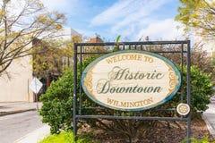 Willkommen zu historischem Wilmington-Zeichen lizenzfreies stockbild