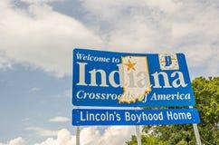 Willkommen zu Indiana-` s neuem Zeichen stockfotos