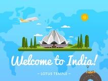 Willkommen zu Indien-Plakat mit berühmter Anziehungskraft Stockfotos