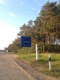 Willkommen zu Lettland-Straßenschild Stockfoto