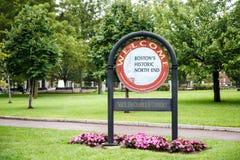 Willkommen zu North End von Boston Stockfotografie