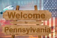 Willkommen zu Pensylvania-Zustand in USA unterzeichnen auf Holz, travell Thema Stockfoto