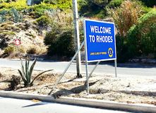 Willkommen zu Rhodos Stockfoto