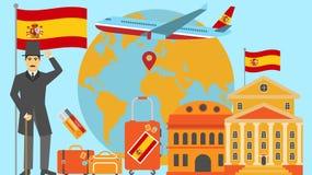 Willkommen zu Spanien-Postkarte Reise- und Safarikonzept der Europa-Weltkartevektorillustration mit Staatsflagge stock abbildung